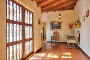 Mediterranean Entryway with Aico high back wood chair villa valencia ai-72834-green-55, terracotta tile floors, French doors