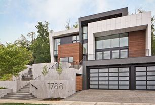 Contemporary Exterior of Home with Water feature, Paint 3, Paint 1, Geometric exterior, Paint 2, Exterior concrete wall