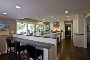 Modern Kitchen with U-shaped, French doors, Flush, Flat panel cabinets, Farmhouse sink, Hardwood floors, Kitchen island