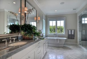 Traditional Master Bathroom with Master bathroom, Restoration hardware: palais pedestal soaking tub, Bathtub, can lights