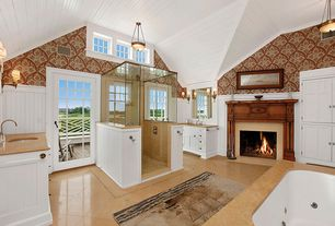 Traditional Master Bathroom with flush light, Crown molding, frameless showerdoor, Wainscotting, Wall sconce, French doors