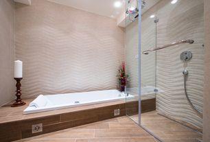 "Modern Full Bathroom with frameless showerdoor, Waterworks Classic 71"" x 33"" x 20"" Left Hand Whirlpool Bathtub"