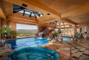 Contemporary Swimming Pool with Pool with hot tub, Indoor pool, exterior stone floors, Skylight