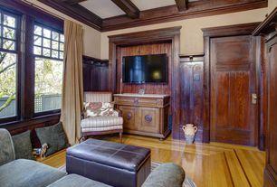 Craftsman Living Room with specialty door, Crown molding, Standard height, Hardwood floors, Wainscotting, Box ceiling
