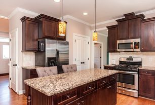 Traditional kitchen with stone tile flat panel cabinets for Apex kitchen cabinets