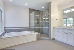 Contemporary Master Bathroom with Flat panel cabinets, frameless showerdoor, Master bathroom, Undermount sink, Complex Marble