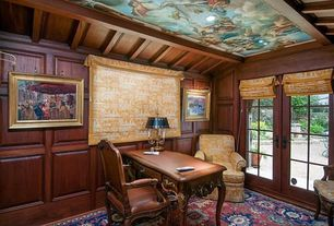 Traditional Home Office with French doors, Standard height, Exposed beam, Carpet, Wainscotting, can lights