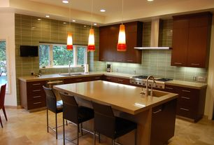 Contemporary Kitchen with Flush, L-shaped, Undermount sink, Wall Hood, XTREMEAIR PX04-I42 PRO-X 42 INCH ISLAND RANGE HOOD