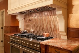 Traditional Kitchen with Wainscotting, Complex granite counters, Custom hood, Limestone Tile, limestone floors, Flush