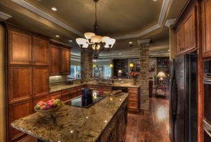 Country Kitchen with Chandelier, High ceiling, Kitchen island, Complex granite counters, Undermount sink, Limestone Tile