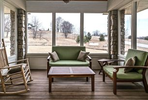 Contemporary Porch with Pathway, picture window, Glass panel door, Screened porch