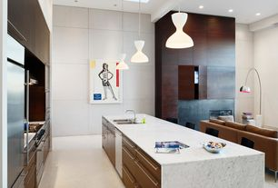 Modern Kitchen with Exposed beam, Custom cabinetry, Breakfast bar, Brushed nickel arc floor lamp, Complex marble counters