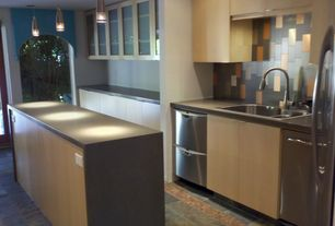 Contemporary Kitchen with Soapstone counters, Undermount sink, Flush, Roterra Slate Tile - Plank Sets Multi Color, One-wall