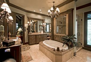 Traditional Master Bathroom with frameless showerdoor, Ms international sunny light limestone, Complex granite counters