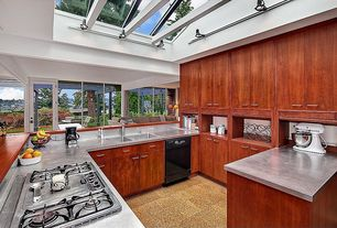 Contemporary Kitchen with High ceiling, APC Cork Flooring Gaia, Skylight, Flush, Wood counters, French doors, flush light