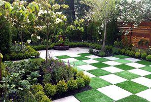 Eclectic Landscape/Yard with exterior concrete tile floors, exterior tile floors, Fence