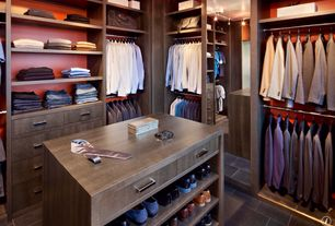 Contemporary Closet with Gardner Glass Products 20-in x 68-in Beveled Edge Wall Mirror, soapstone tile floors, flush light