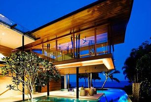 Contemporary Swimming Pool with picture window, Raised beds, Deck Railing, Other Pool Type, exterior stone floors, Pathway