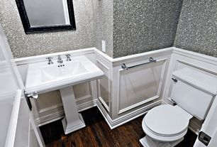 Traditional Powder Room with Prime Walls ENLACED LEAF TRAIL BLACK WHITE 48641 WALLPAPER, Hardwood floors, Pedestal sink