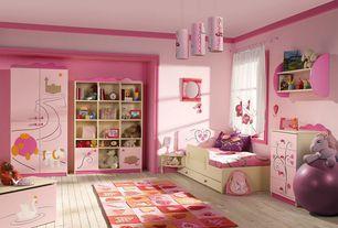 Contemporary Kids Bedroom with Hardwood floors, Crown molding, Pendant light, Built-in bookshelf