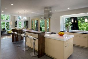 Contemporary Kitchen with Corian- Designer White, Nuevo Adora Adjustable Height Bar Stool
