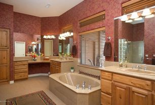 Traditional Master Bathroom with Handheld showerhead, Master bathroom, Limestone, wall-mounted above mirror bathroom light