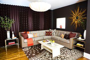 Eclectic Living Room with flush light, Hardwood floors