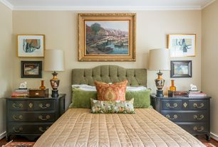 Traditional Guest Bedroom with Hardwood floors, Standard height, Crown molding