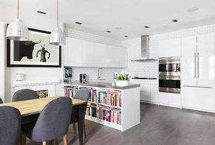 Eclectic Kitchen with Subway Tile, Stainless steel counters, SE W2D Wall Cabinet with 2 Doors, Ringhult White by Ikea