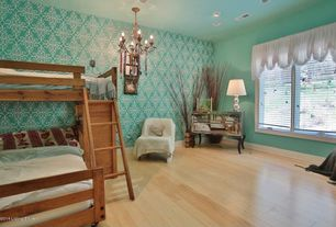 Eclectic Guest Bedroom with Chelsea Home Twin Over Full Loft Bed with Desk End - Cinnamon, interior wallpaper, Casement