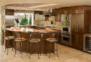 Contemporary Kitchen with Wine refrigerator, Ceramic Tile, Onyx counters, European Cabinets, Flush, Breakfast bar, Bay window