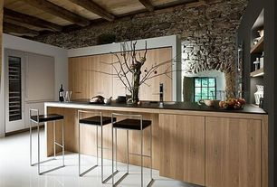 Contemporary Kitchen with Built-in bookshelf, Standard height, picture window, Exposed beam, Concrete floors