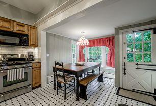 Cottage Dining Room with Carpet, Pendant light, Dutch door, Glass panel door, Barn door