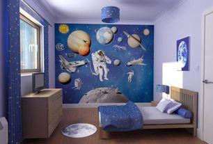 Contemporary Kids Bedroom with Crown molding, Hardwood floors, Pendant light, interior wallpaper