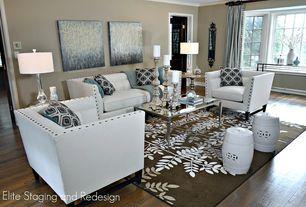 Modern Living Room with Glass panel door, Window seat, nuLOOM Handmade Pino Yarrow Floral Rug - Slate, Crown molding