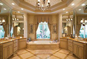 Traditional Master Bathroom with Raised panel, Crown molding, Arizona tile, NUVOLATO SATIN, Marble, Chandelier, Flush