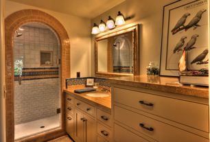 Eclectic 3/4 Bathroom with Paint 1, mexican tile backsplash, Wall Tiles, Standard height, Paint 3, Inset cabinets, Shower