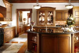 Country Kitchen with Hardwood floors, Glass panel, Large Ceramic Tile, Undermount sink, Flat panel cabinets, L-shaped