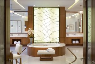 Contemporary Master Bathroom with wall-mounted above mirror bathroom light, flush light, Undermount sink, Bathtub, can lights