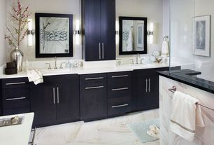 Contemporary Master Bathroom with Flush, Undermount sink, Emser flash sparkling linear mosaic, European Cabinets, Double sink