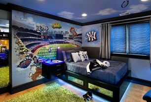 Eclectic Kids Bedroom with Behind Home Plate at Yankee Stadium Mural, Rizzy Rugs Kempton Shag Lime Rug, Mural, Crown molding