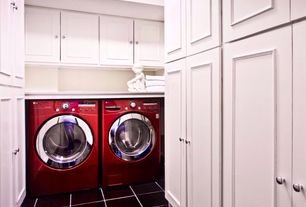Traditional Laundry Room with Undermount sink, simple marble tile floors, Built-in bookshelf