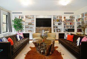 Contemporary Living Room with Built-in bookshelf, Carpet, flush light