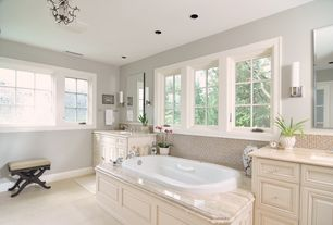 Traditional Master Bathroom with Master bathroom, George kovacs - saber bathroom sconce, Complex marble counters, Wall sconce