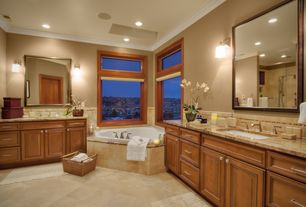 Traditional Master Bathroom with Flush, Raised panel, Crown molding, Handheld showerhead, Limestone Tile, Master bathroom