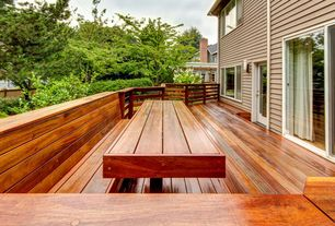 "Craftsman Deck with Pavilion wood decking - exotic ipe / 2""x2"" / 3' to 6' / solid, Wood railing, Stained wood decking"