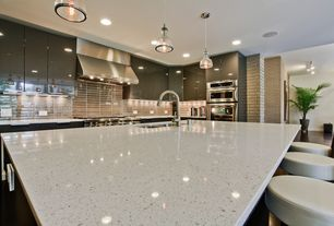 Contemporary Kitchen with Simple granite counters, Large potted palm, Large Ceramic Tile, Breakfast bar, Flush, L-shaped