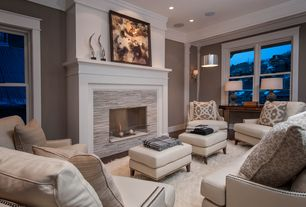 Contemporary Living Room with Wall sconce, Nova, Faber travertine cubic random sized wall cladding tile in light ivory