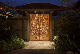 Asian Front Door with Fence, exterior stone floors, Pathway, Brandell Studios Custom Doors, Gate, Trellis