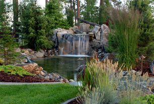 Rustic Landscape/Yard with Waterfall, Pathway, Pond, Fountain